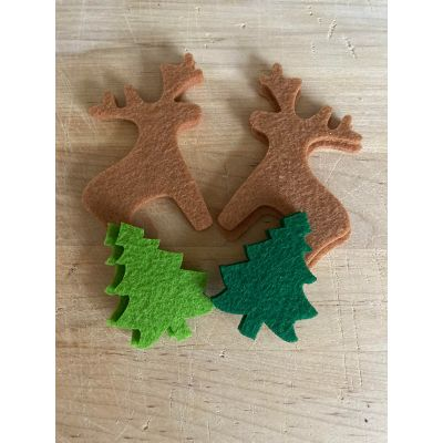 Remnant - Felt Festive Reindeer & Xmas Tree Motif - Pack of 8 - Discontinued Line