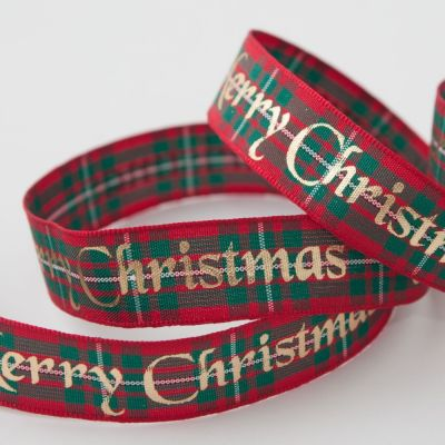 Berisfords Tartan Metallic Merry Christmas Ribbon Macgregor - 16mm Wide