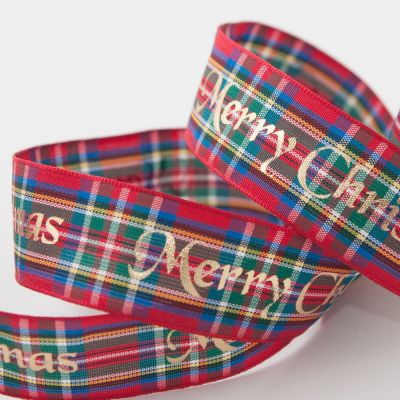 Berisfords Tartan Metallic Merry Christmas Ribbon Royal Stewart - 25mm Wide