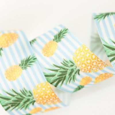 Berisfords Pineapples On White & Pale Blue Striped Ribbon - 25mm Wide