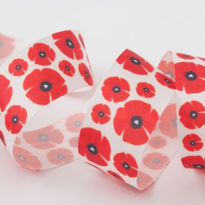 Berisfords Poppy Ribbon - 15mm & 25mm Wide
