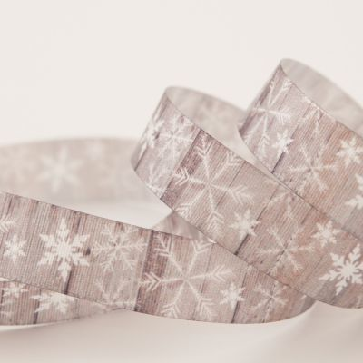 Berisfords Festive Snowflakes On Grey Ribbon - 15mm Wide