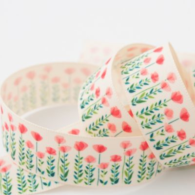 Berisfords Poppy & Leaves Ribbon - 25mm Wide