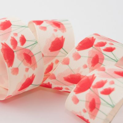 Berisfords Painted Poppy Ribbon - 25mm Wide