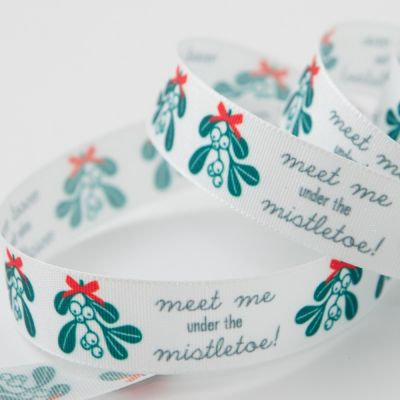 Berisfords Meet Me Under The Mistletoe Christmas Ribbon - 15mm Wide