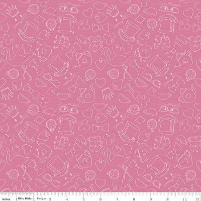 Riley Blake Wonderland 2 Tea Party Pink Cut Length