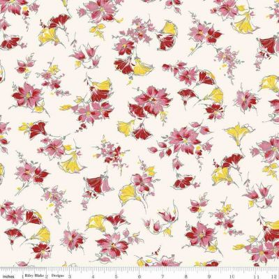 Remnant -Riley Blake - Penny Rose Lily - Main Cream - 50 x 55cm