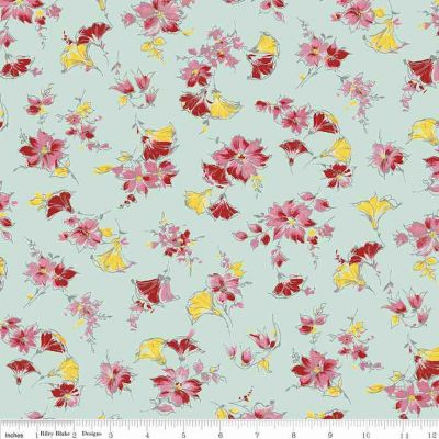 Riley Blake Penny Rose Lily Main Mint Cut Length