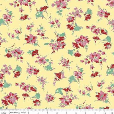 Riley Blake Penny Rose Lily Main Yellow Cut Length