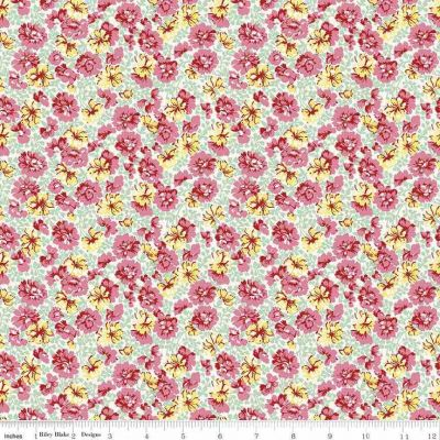 Riley Blake Penny Rose Lily Garden Mint Cut Length