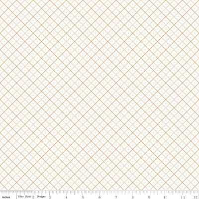 Riley Blake Bee Backgrounds Grid Orange Cut Length