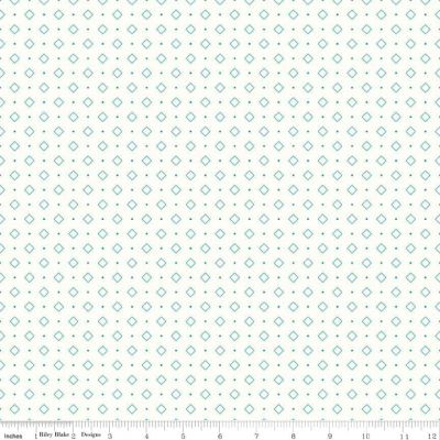 Riley Blake Bee Backgrounds Diamond Turquoise Cut Length