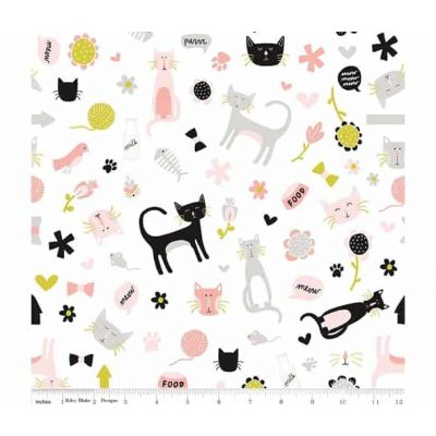 Riley Blake Meow Main White Cut Length