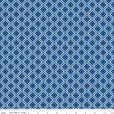 Riley Blake Blue Carolina Tile Blue Cut Length