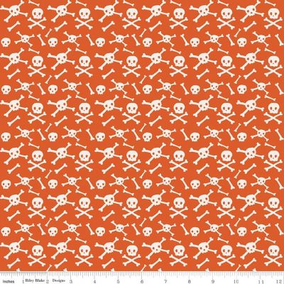 Riley Blake Cats Bats And Jacks Skulls Orange Cut Length