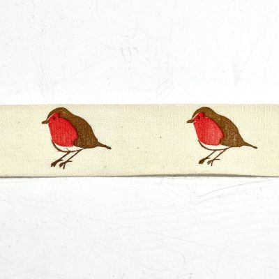 Novelty Natural Ribbon - Robin - 25mm