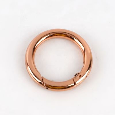 Rose Gold Metal Sprung O Ring 25mm Diameter - Sprung Metal Ring For Bags And Key Rings