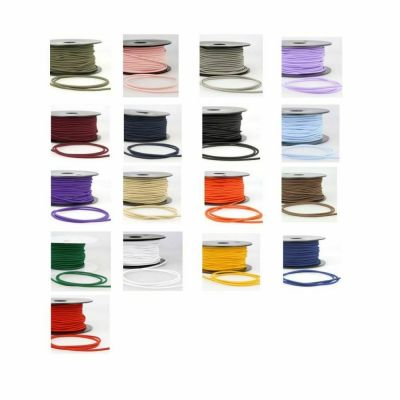 Remnant - 5m of  Round Rayon Elastic Cord - Various Width: 5 Lucky Dip mixed colours - 5m in Total