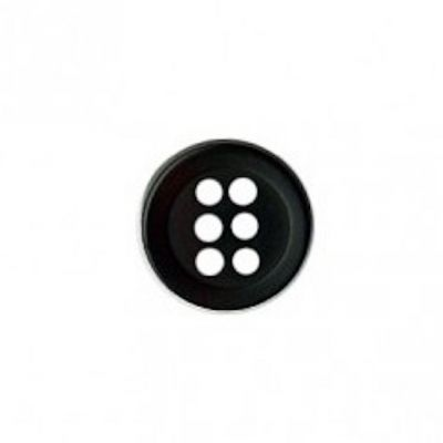 Round 6 Hole Shirt Button - Black 9mm / 14L