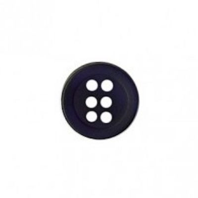 Round 6 Hole Shirt Button - Navy 11mm / 18L
