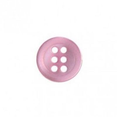 Round 6 Hole Shirt Button - Pink - 11mm / 18L