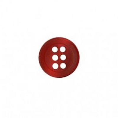 Round 6 Hole Shirt Button - Red - 11mm / 18L