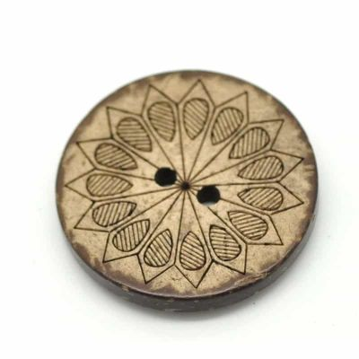 Round Geometric Coconut Shell 2 Hole Buttons 30mm
