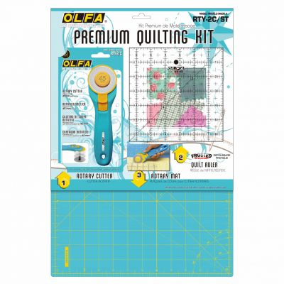 Olfa Aqua Rotary Cutter / Self Healing Mat / Square Ruler Set