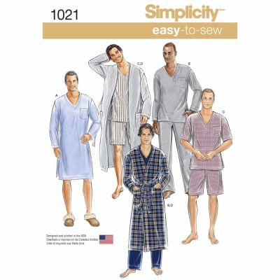 Simplicity Sewing Pattern 1021 Men's Classic Pajamas & Robe