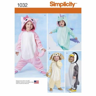 Simplicity Sewing Pattern 1032 Toddlers' Animal Costumes