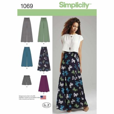 Simplicity Sewing Pattern 1069 Misses' Wide Leg Trousers or Shorts & Skirts in 2 Lengths