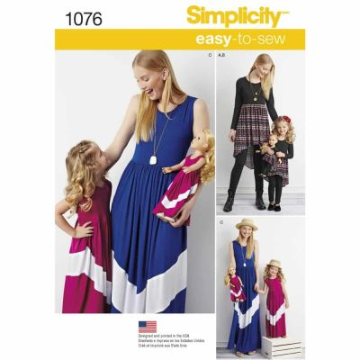"Simplicity Sewing Pattern 1076 Child's and Misses' Maxi Dress and 18"" Doll Clothes."