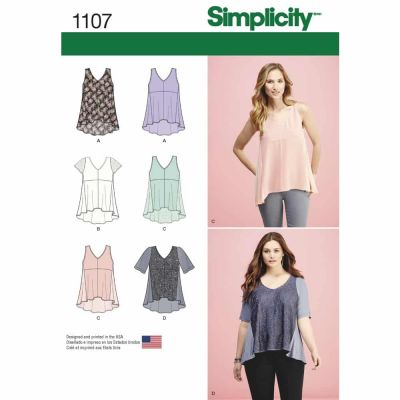 Simplicity Sewing Pattern 1107 Misses' Tops with Fabric Variations