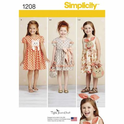 Simplicity Sewing Pattern 1208 Child's Dresses, Purses and Headband