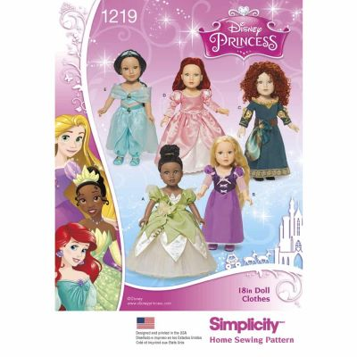 "Simplicity Sewing Pattern 1219 Disney Princess 18"" Doll Clothes"