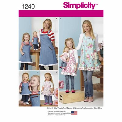 "Simplicity Sewing Pattern 1240 Aprons for Misses, Children and 18"" Doll"