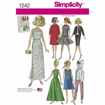 "Simplicity Sewing Pattern 1242 Vintage Doll Clothes for 11 1/2"" Doll"