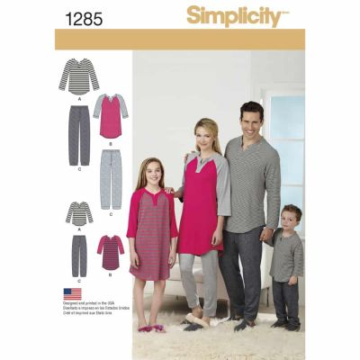 Simplicity Sewing Pattern 1285 Family Loungewear