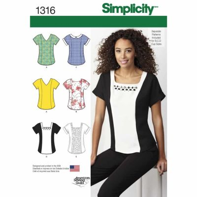 Simplicity Sewing Pattern 1316 Misses' Top with Neckline Variations