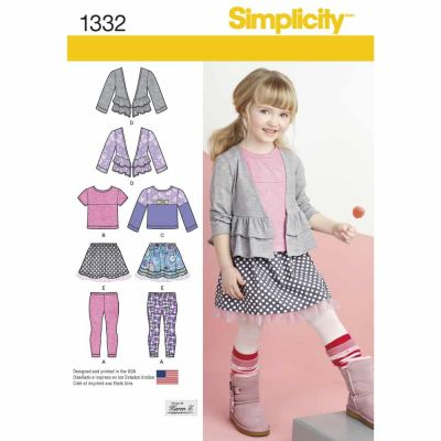 Simplicity Sewing Pattern 1332 Child's Skirt and Knit Leggings, Top and Cardigan