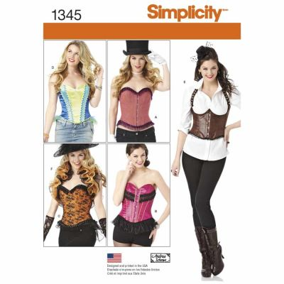 Simplicity Sewing Pattern 1345 Misses' Corsets and Ruffled Shrug