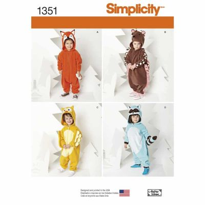 Simplicity Sewing Pattern 1351 Toddlers' Animal Costumes
