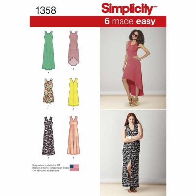Simplicity Sewing Pattern 1358 Misses' Knit Dresses with Length and Neckline Variations