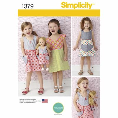 "Simplicity Sewing Pattern 1379 Child's Dress and Dress for 18"" Doll"