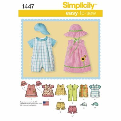 Simplicity Sewing Pattern 1447 Babies' Romper, Dress, Top, Panties and Hats