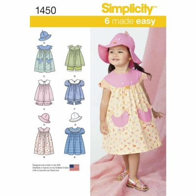 Simplicity Sewing Pattern 1450 Toddlers' Dress, Top, Panties and Hat