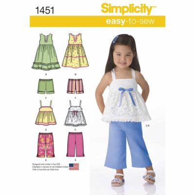 Simplicity Sewing Pattern 1451 Toddlers' Dresses, Top, Cropped Trousers and Shorts