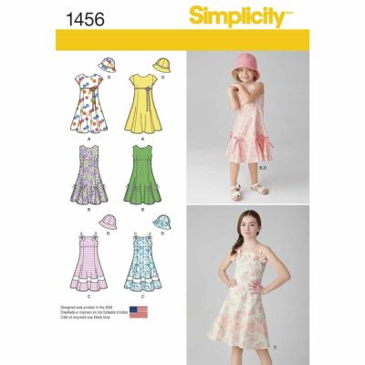 Simplicity Sewing Pattern 1456 Child's and Girls' Dress with Bodice Variations and Hat