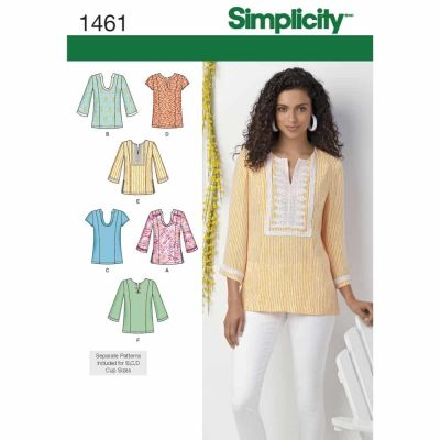Simplicity Sewing Pattern 1461 Misses' and Plus Tunic with Neckline and Sleeve Variations