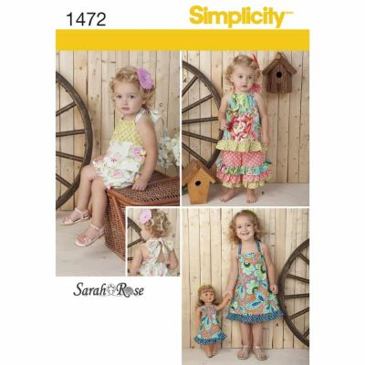 "Simplicity Sewing Pattern 1472 Toddlers' Romper, Dress, Top, Trousers & 18"" Doll Dress"